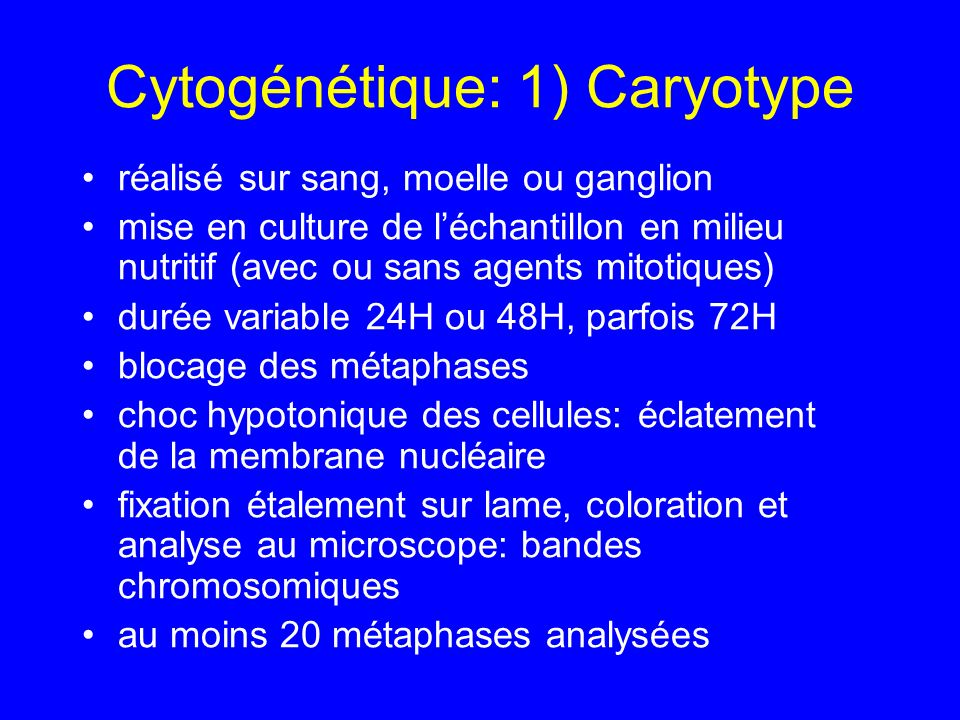 Cytogénétique: 1) Caryotype
