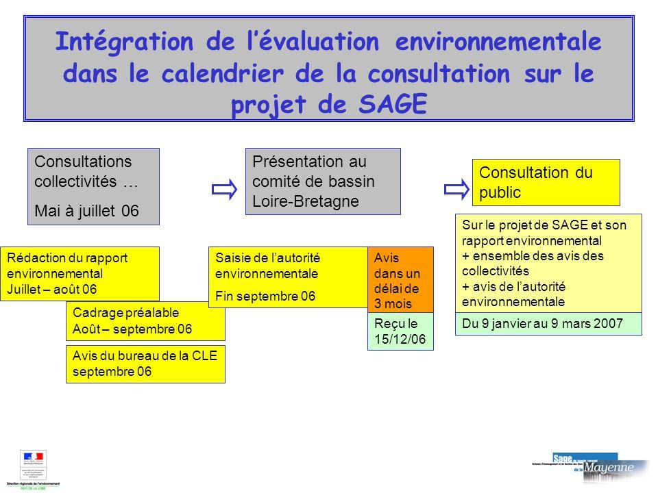 Intégration de l'évaluation environnementale dans le calendrier de la consultation sur le projet de SAGE