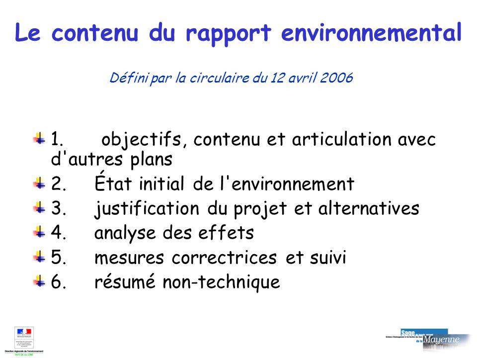 Le contenu du rapport environnemental