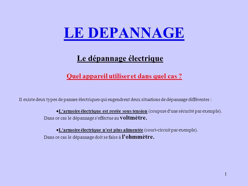 LE DEPANNAGE Le dépannage électrique