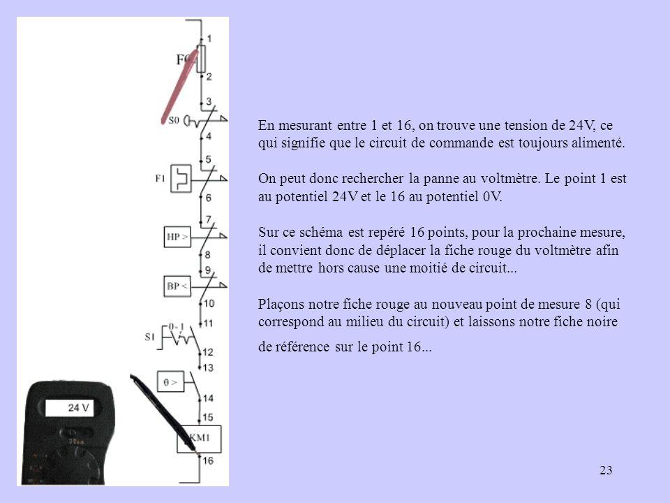 En mesurant entre 1 et 16, on trouve une tension de 24V, ce qui signifie que le circuit de commande est toujours alimenté.
