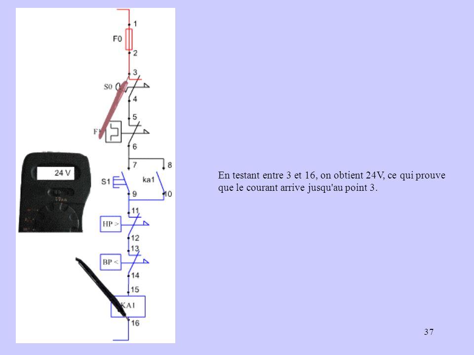 En testant entre 3 et 16, on obtient 24V, ce qui prouve que le courant arrive jusqu au point 3.
