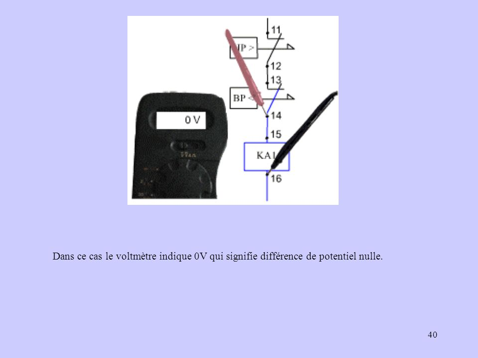Dans ce cas le voltmètre indique 0V qui signifie différence de potentiel nulle.