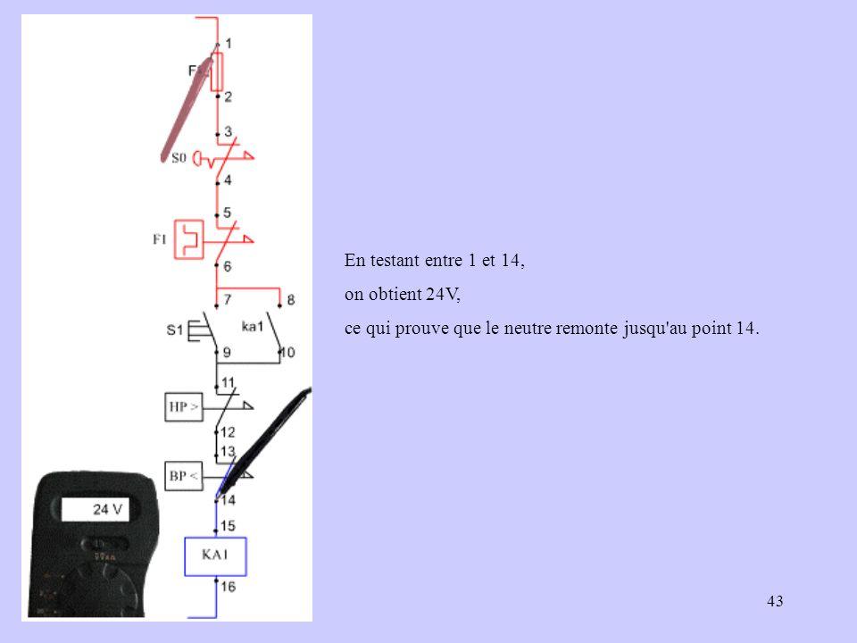 En testant entre 1 et 14, on obtient 24V, ce qui prouve que le neutre remonte jusqu au point 14.