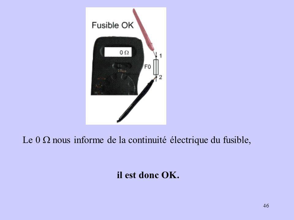 Le 0 W nous informe de la continuité électrique du fusible,
