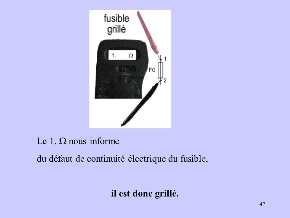 Le 1. W nous informe du défaut de continuité électrique du fusible, il est donc grillé.