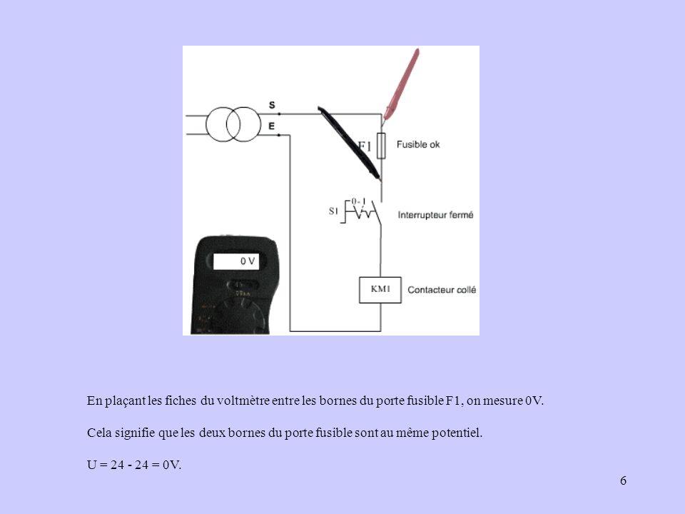 En plaçant les fiches du voltmètre entre les bornes du porte fusible F1, on mesure 0V.