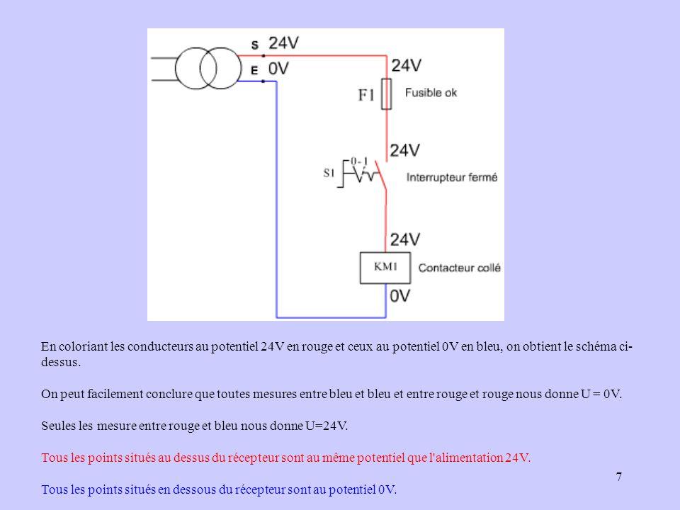 En coloriant les conducteurs au potentiel 24V en rouge et ceux au potentiel 0V en bleu, on obtient le schéma ci-dessus.