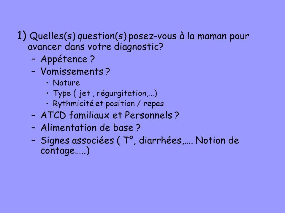 1) Quelles(s) question(s) posez-vous à la maman pour avancer dans votre diagnostic