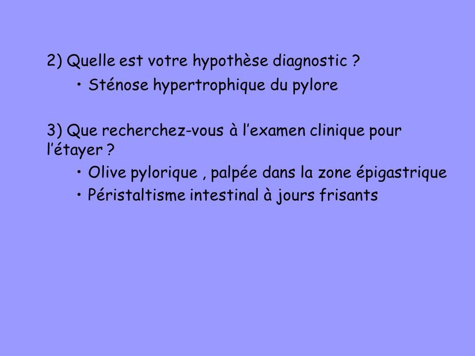 2) Quelle est votre hypothèse diagnostic
