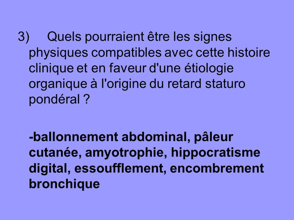 3) Quels pourraient être les signes physiques compatibles avec cette histoire clinique et en faveur d une étiologie organique à l origine du retard staturo pondéral