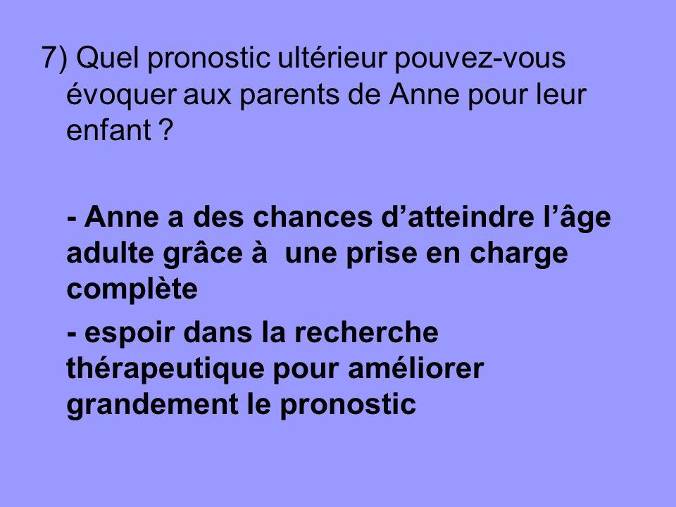 7) Quel pronostic ultérieur pouvez-vous évoquer aux parents de Anne pour leur enfant