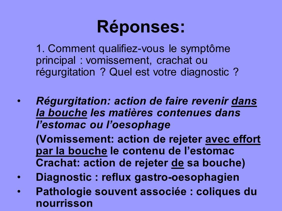 Réponses: 1. Comment qualifiez-vous le symptôme principal : vomissement, crachat ou régurgitation Quel est votre diagnostic