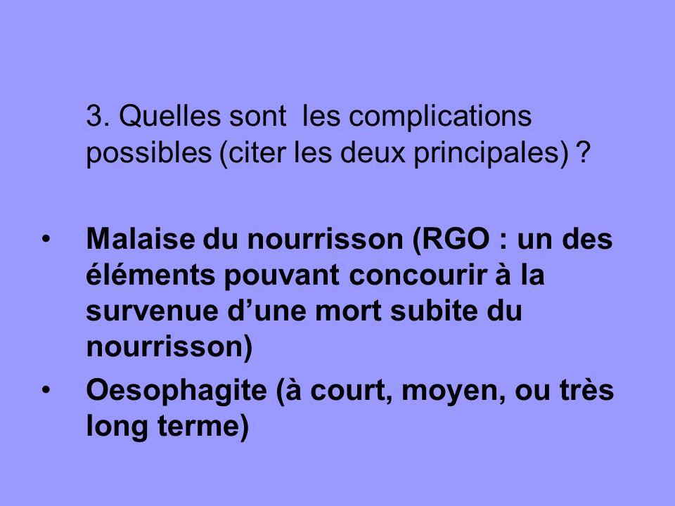 3. Quelles sont les complications possibles (citer les deux principales)