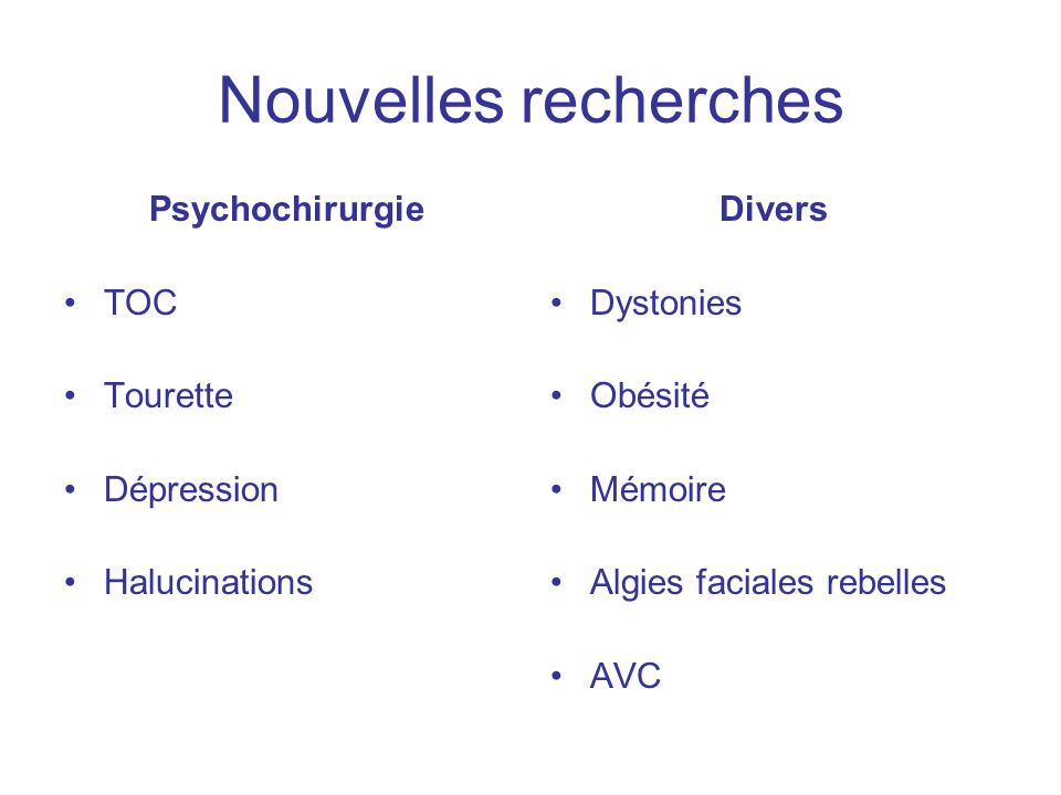 Nouvelles recherches Psychochirurgie TOC Tourette Dépression