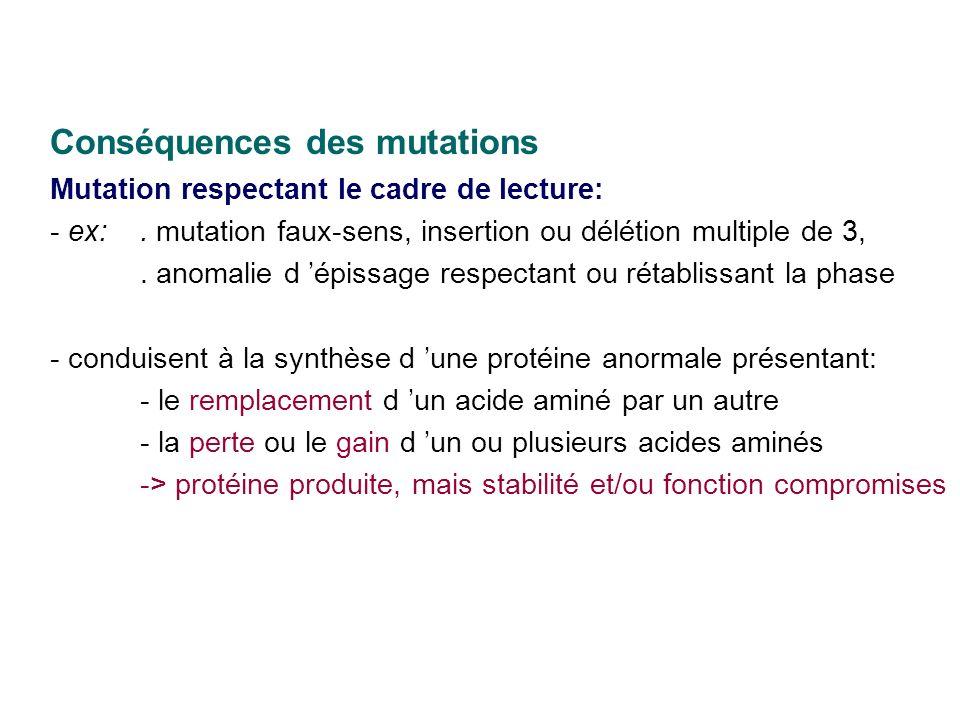 Conséquences des mutations