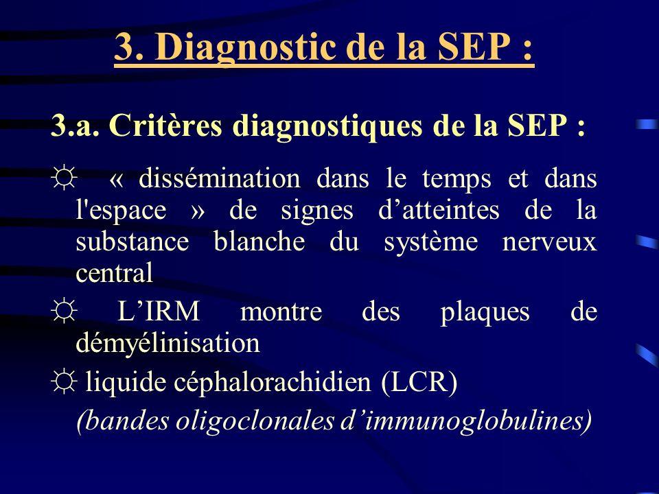 3. Diagnostic de la SEP : 3.a. Critères diagnostiques de la SEP :