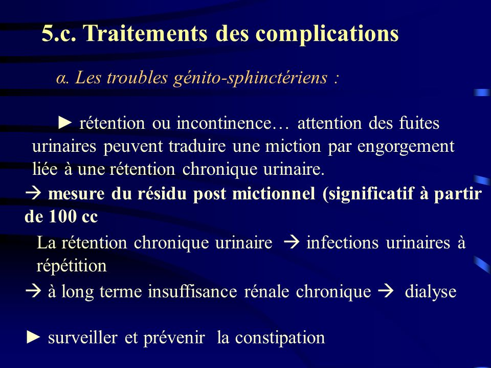 5.c. Traitements des complications