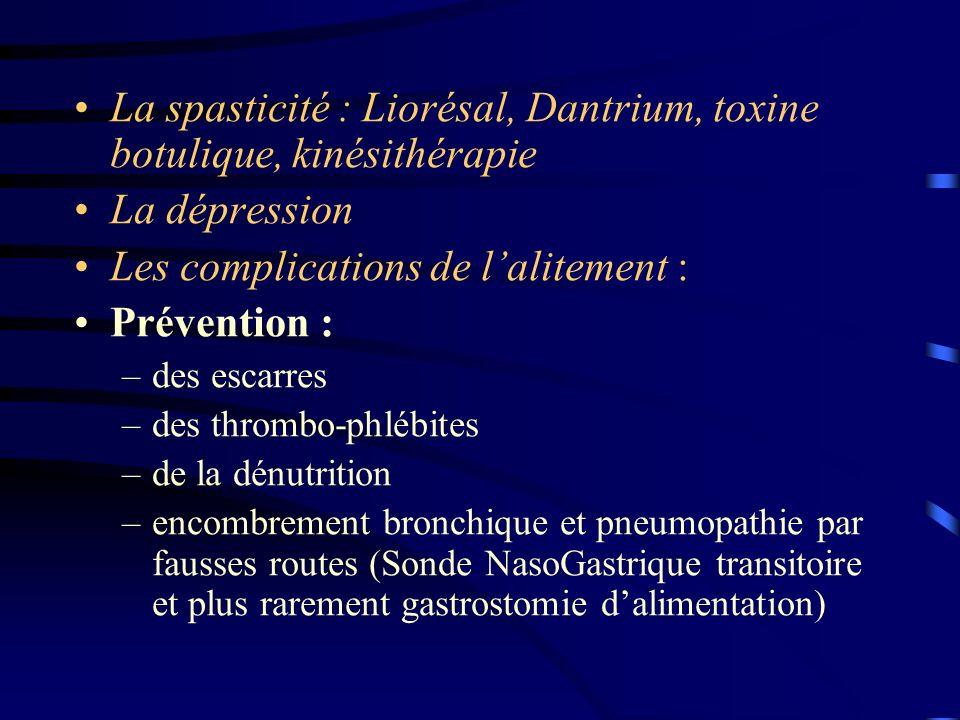 La spasticité : Liorésal, Dantrium, toxine botulique, kinésithérapie