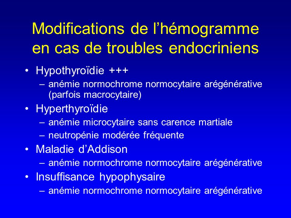 Modifications de l'hémogramme en cas de troubles endocriniens