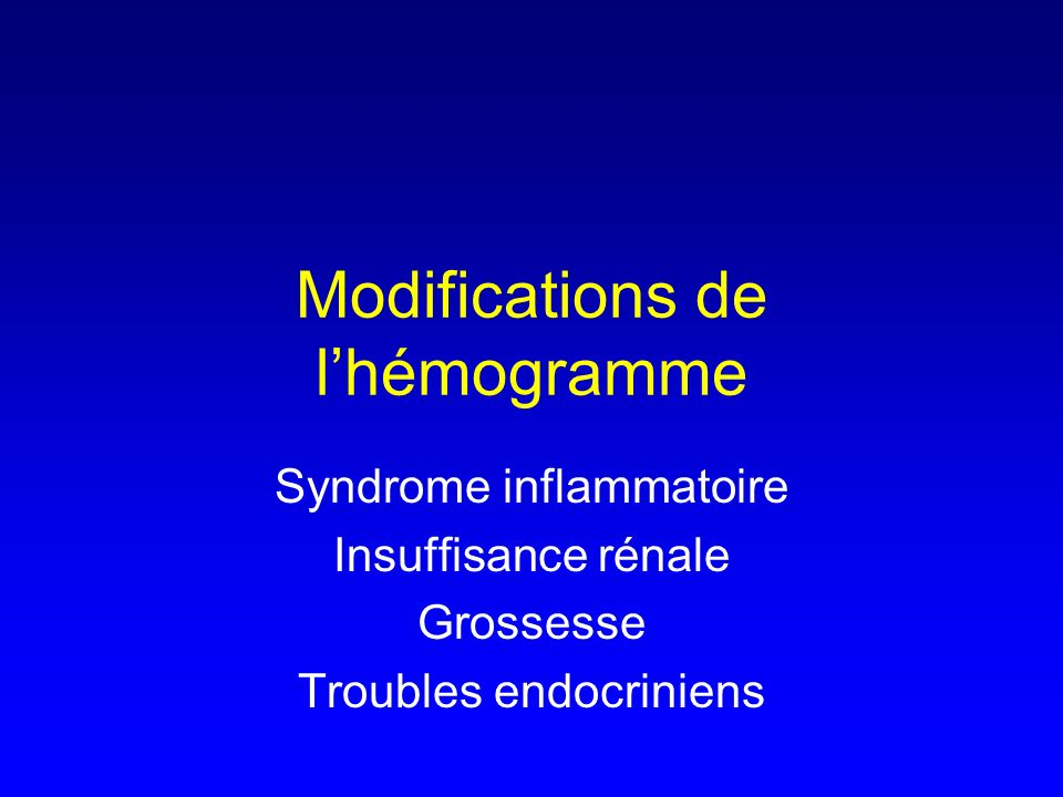 Modifications de l'hémogramme