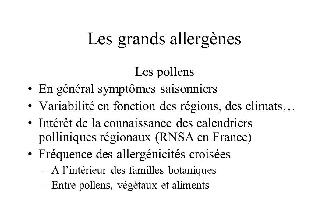 Les grands allergènes Les pollens En général symptômes saisonniers