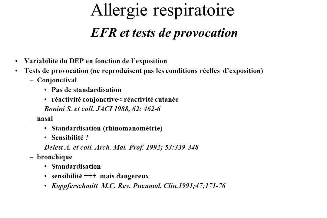 Allergie respiratoire EFR et tests de provocation