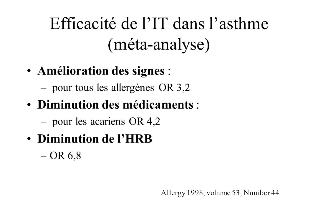 Efficacité de l'IT dans l'asthme (méta-analyse)