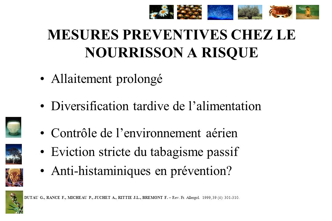 MESURES PREVENTIVES CHEZ LE NOURRISSON A RISQUE