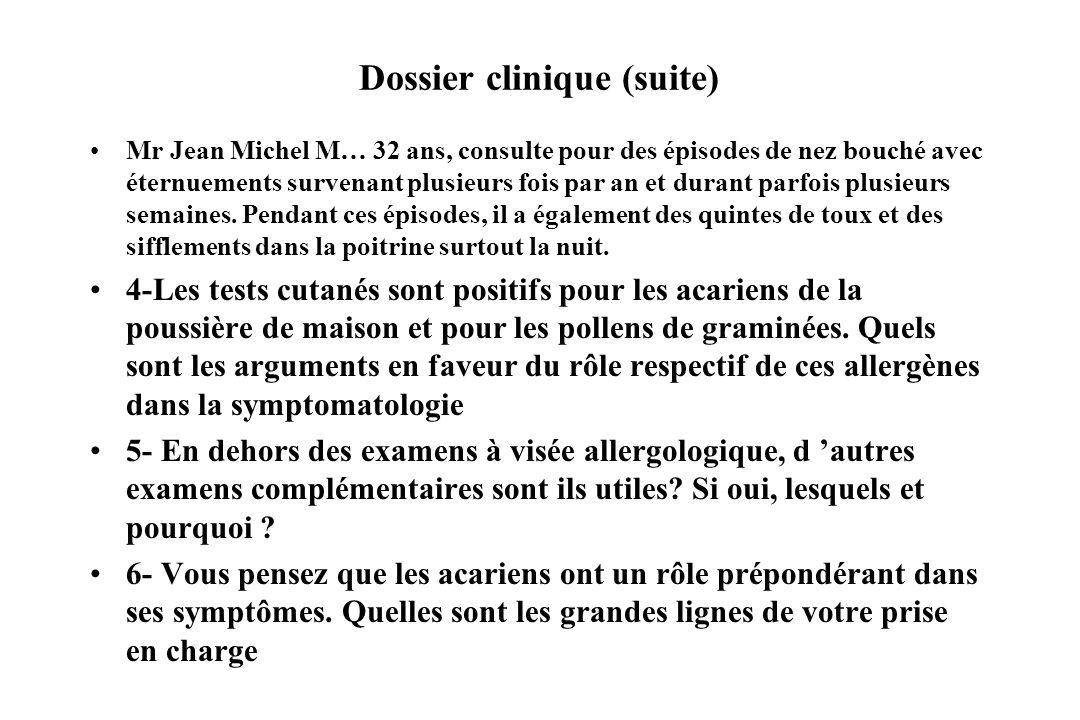 Dossier clinique (suite)