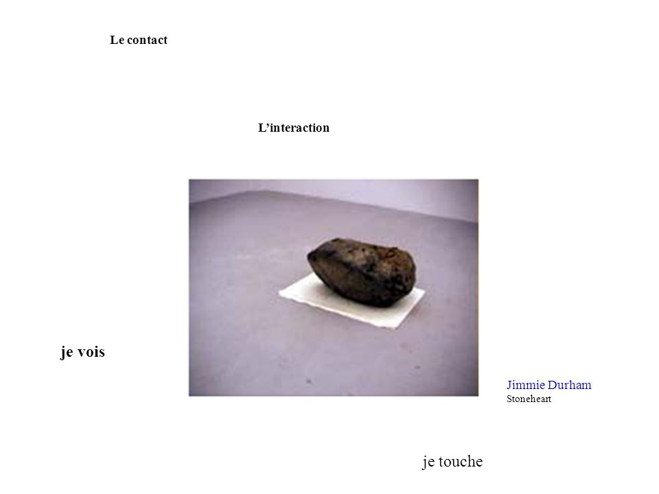 Le contact L'interaction je vois Jimmie Durham Stoneheart je touche