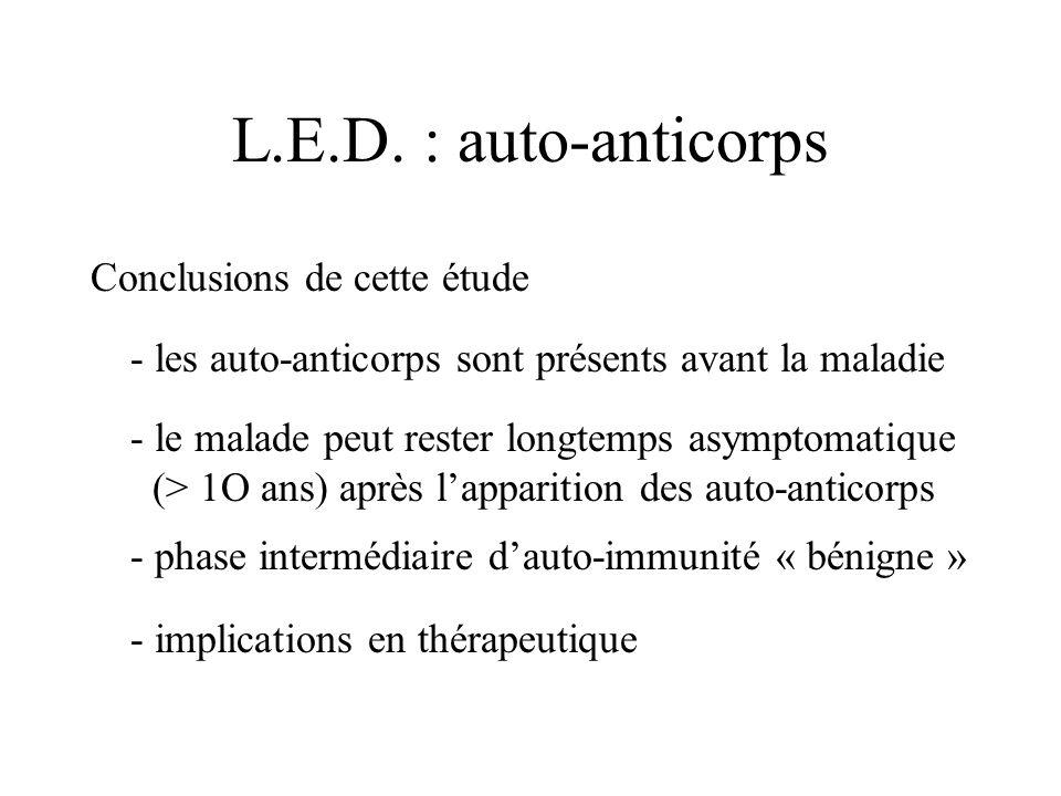 L.E.D. : auto-anticorps Conclusions de cette étude