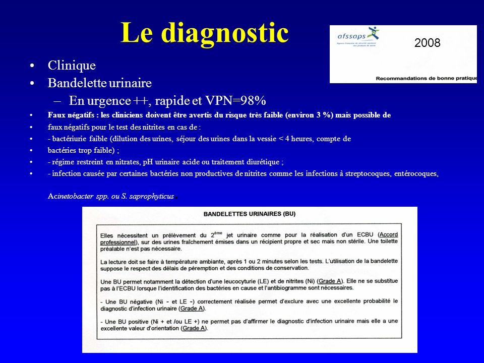 Le diagnostic Clinique Bandelette urinaire