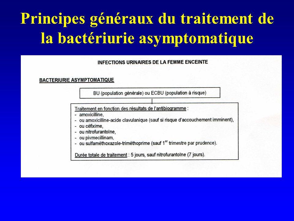 Principes généraux du traitement de la bactériurie asymptomatique