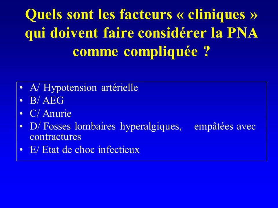 Quels sont les facteurs « cliniques » qui doivent faire considérer la PNA comme compliquée