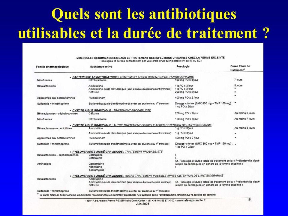 Quels sont les antibiotiques utilisables et la durée de traitement
