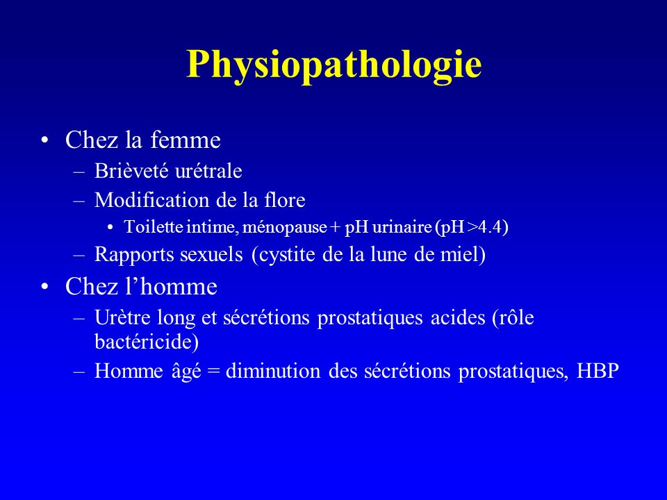 Physiopathologie Chez la femme Chez l'homme Brièveté urétrale