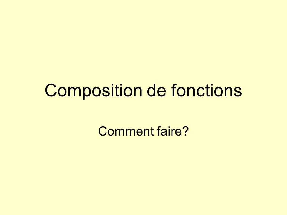 Composition de fonctions