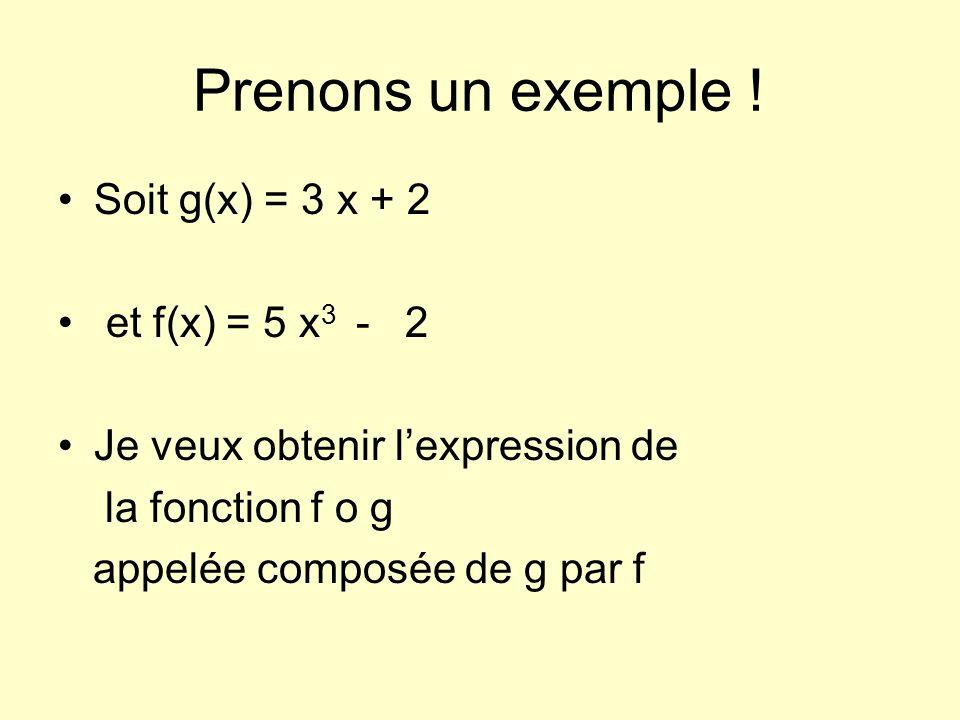 Prenons un exemple ! Soit g(x) = 3 x + 2 et f(x) = 5 x3 - 2