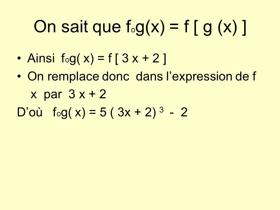 On sait que fog(x) = f [ g (x) ]