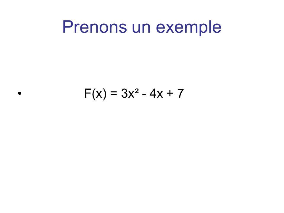 Prenons un exemple F(x) = 3x² - 4x + 7