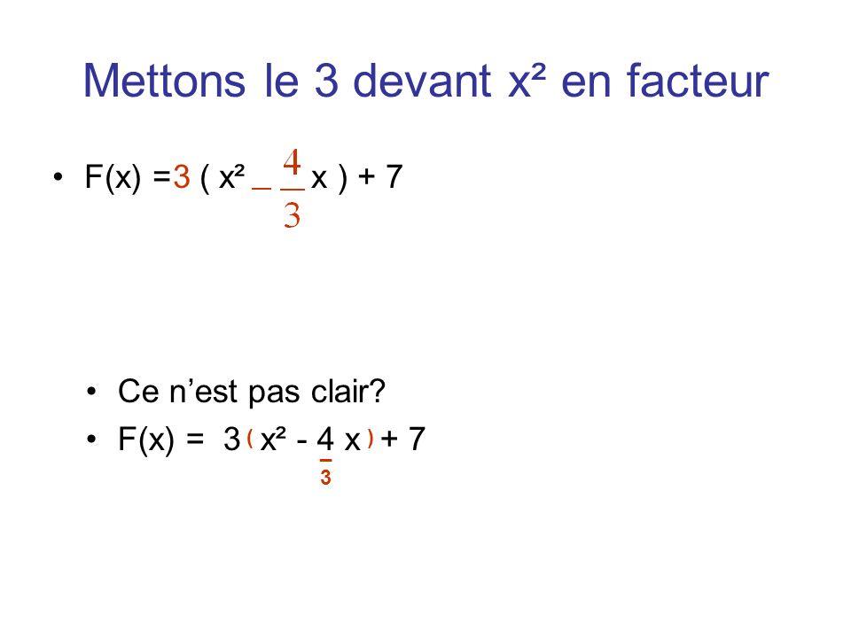Mettons le 3 devant x² en facteur