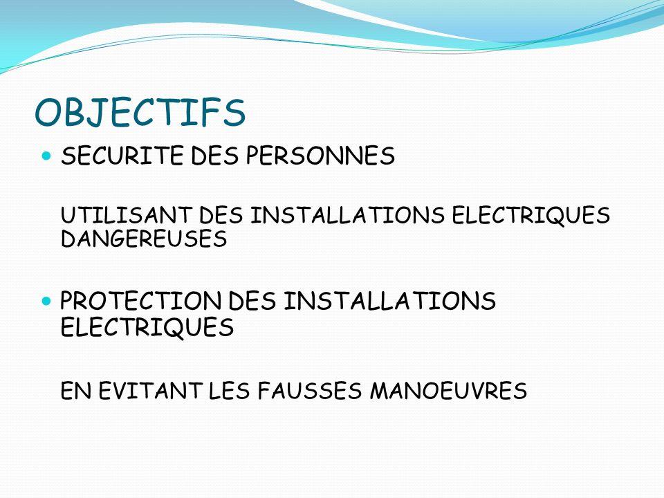 OBJECTIFS SECURITE DES PERSONNES