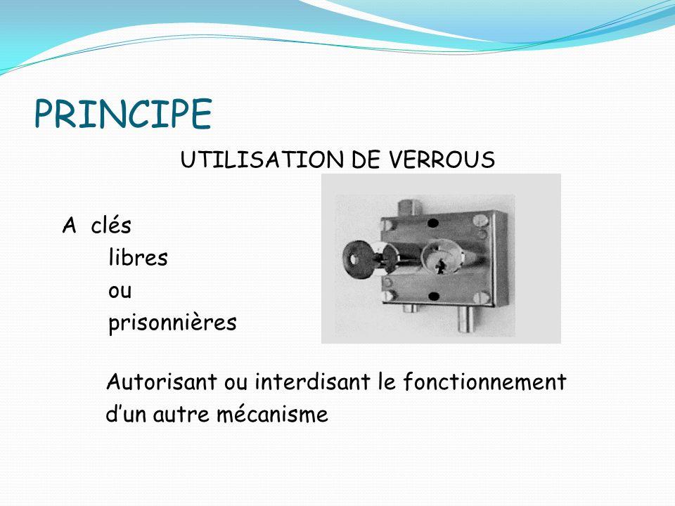 UTILISATION DE VERROUS A clés libres ou prisonnières