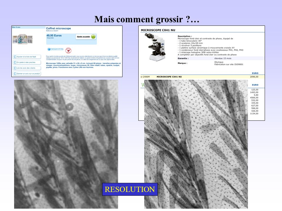 Mais comment grossir … RESOLUTION