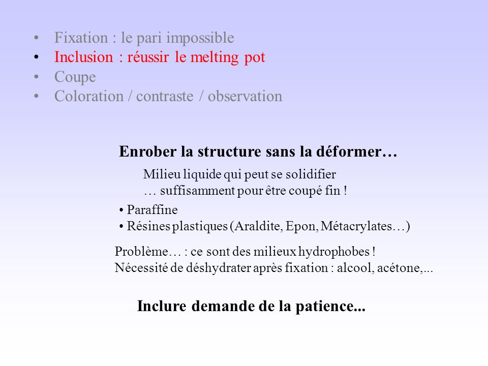 Fixation : le pari impossible Inclusion : réussir le melting pot Coupe