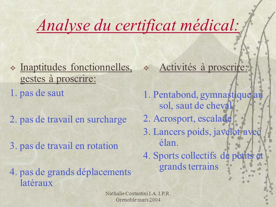 Analyse du certificat médical:
