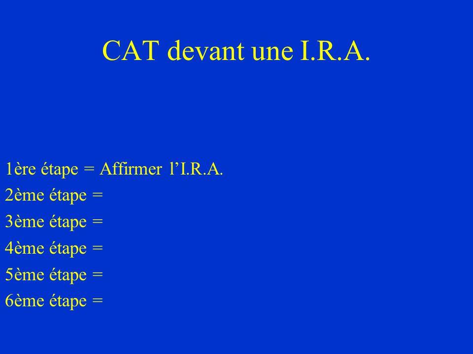 CAT devant une I.R.A. 1ère étape = Affirmer l'I.R.A. 2ème étape =