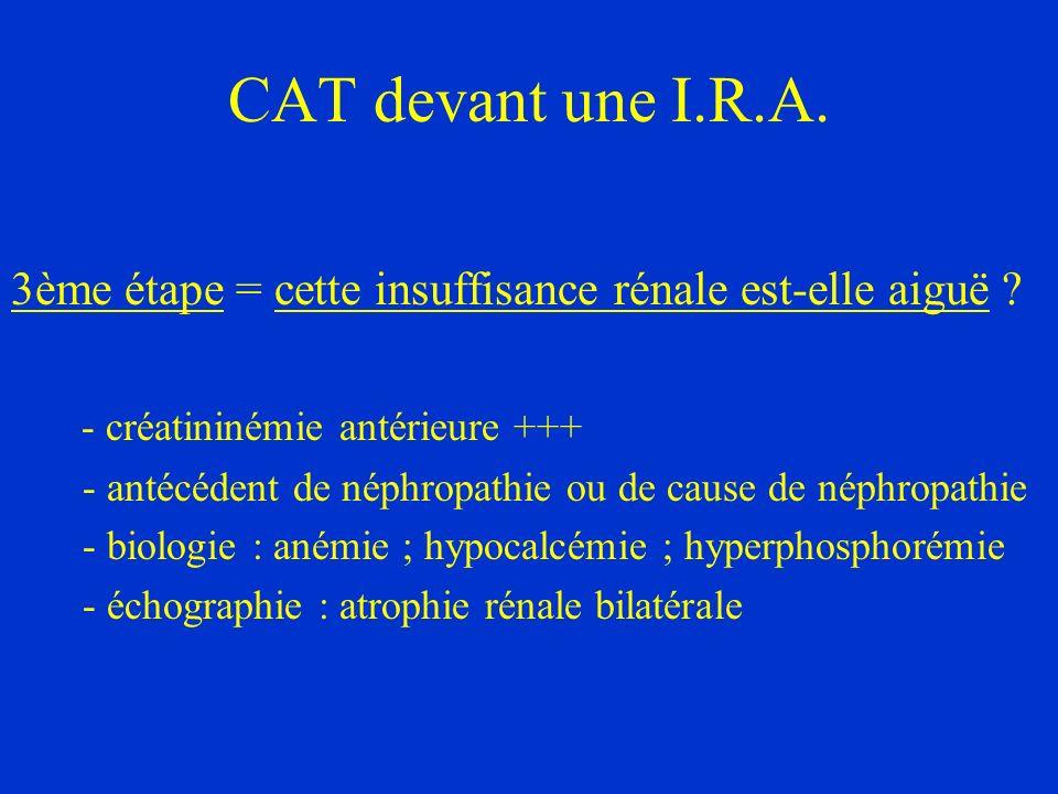 CAT devant une I.R.A. 3ème étape = cette insuffisance rénale est-elle aiguë - créatininémie antérieure +++
