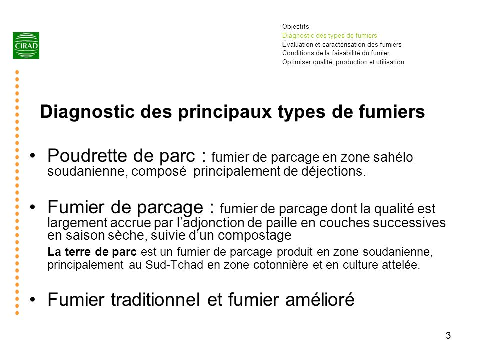 Diagnostic des principaux types de fumiers